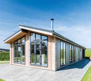 The striking exterior of North Lakes Lodges in Cumbria, part of Hoseasons' Evermore range.