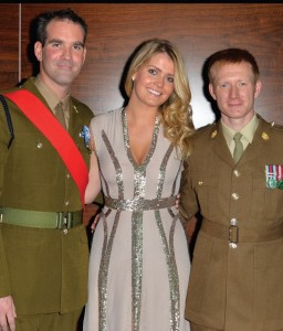 Trustees for the Give Us Time charity include Lady Kitty Spencer, pictured here with two British service personnel.