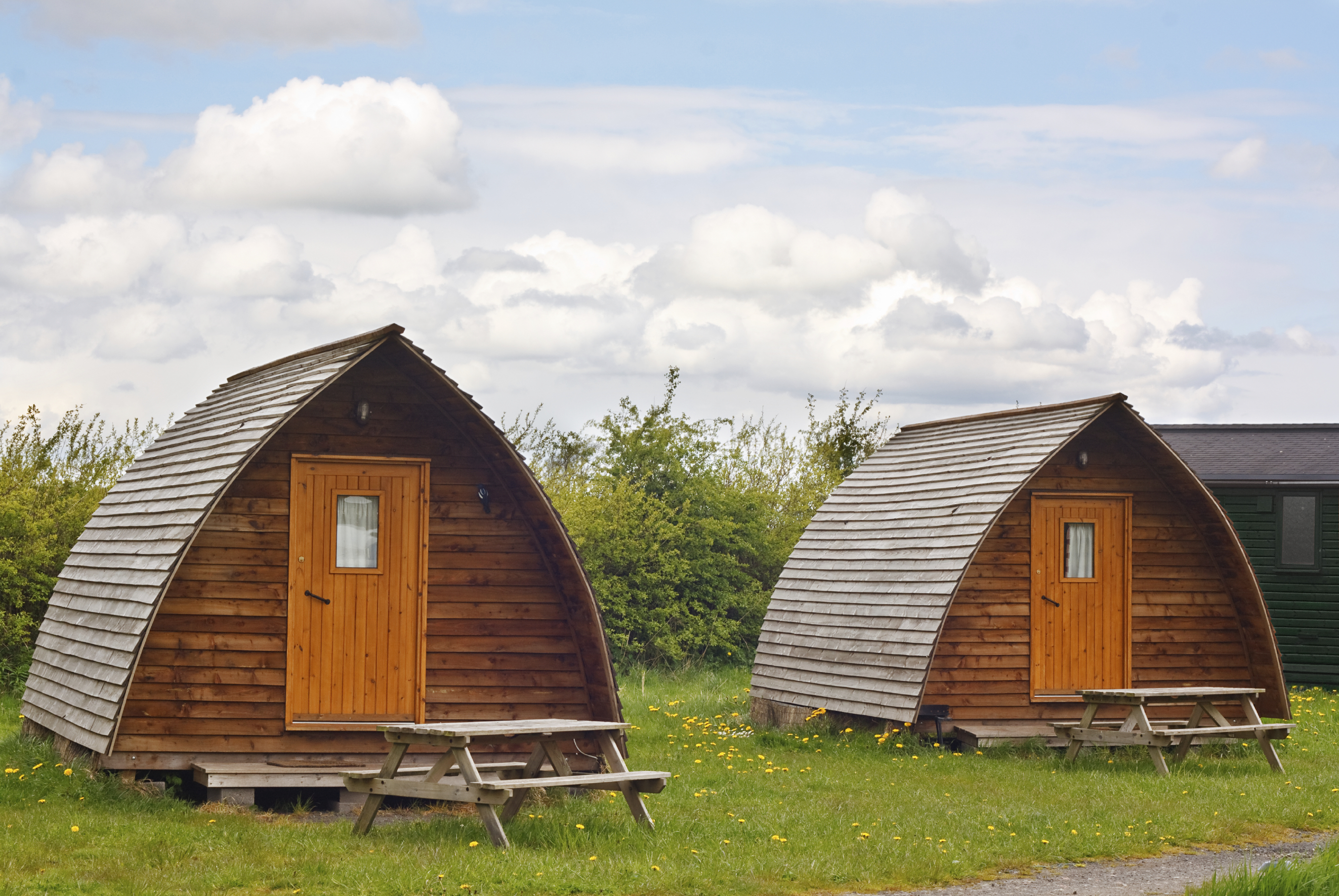 Modern camping tee pees at european camp site in The Yorkshire Dales National Park a contemporary trend called glamping because its more glamourous than the traditional method with all mod cons