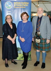 ABOVE: Fiona Hyslop MSP (centre) is welcomed to the conference by director general of BH&HPA, Ros Pritchard OBE, and retiring chairman of BH&HPA Scotland Colin Fraser