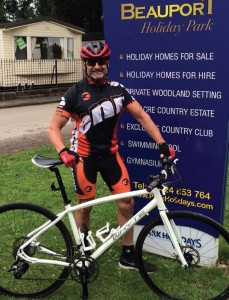 Night manager Dave Marshall raised £4,000 for charity by cycling 100 two-mile circuits around Beauport Holiday Park near Hastings.