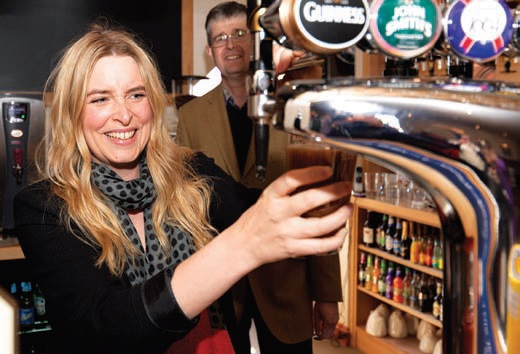 Soap actress Emma Atkins pulled the first pint at The Royal, opened by the owners of Silverdale Holiday Park.