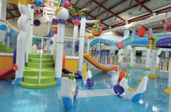 Lagan Valley LeisurePlex boasts an Aquadek, which has been created to add interactivity and a kid's waterslide to the facility. Pic: World Leisure.