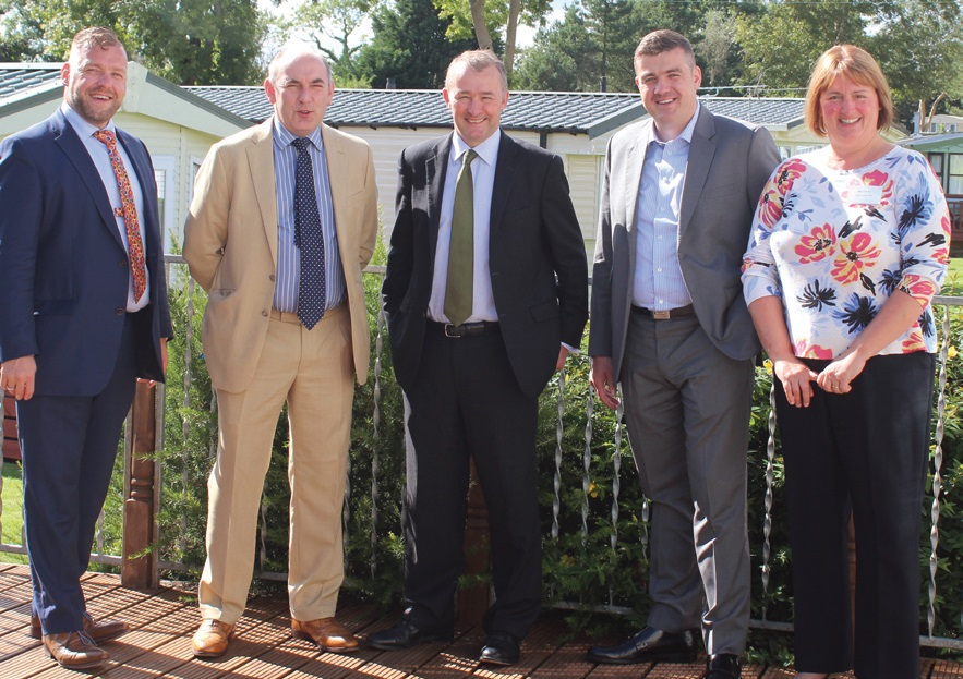 Simon Hart MP (centre) with from left, branch director and BH&HPA vice chairman Huw Pendleton, BH&HPA national chairman Henry Wild, branch chairman Thomas Scarrott and branch secretary Gail Thomas.