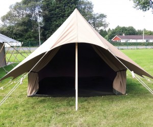 The Kora safari tent sleeps two and comes in a choice of muted colours, ranging from light sand to olive.