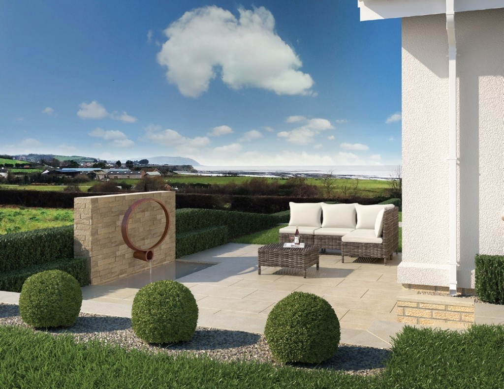 View of the patio of one of the homes at The Tides development in Somerset.