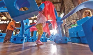 Imagination Playground is a mobile play system made up of big blue blocks in many unique shapes and sizes.